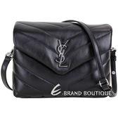YSL Saint Laurent LOULOU 銀字絎縫小牛皮斜背包(黑色) 1840197-01