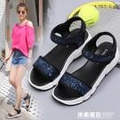 新款涼鞋女夏平底學生韓版簡約舒適平跟百搭運動休閒沙灘鞋女 米希美衣