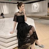 短袖洋裝 夏季2021新款網紗拼接收腰中長款蕾絲短袖連身裙女溫柔chic仙女裙