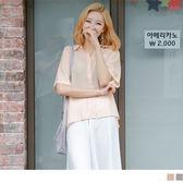 OB嚴選《AB0475-》素色壓紋透膚後開衩造型口袋襯衫.3色--適 S~L
