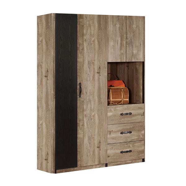 【采桔家居】班奈吉 時尚4.5尺雙色衣櫃/收納櫃組合(三抽屜+吊衣桿+開放層格)
