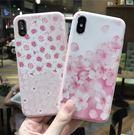 【SZ35】iPhone X手機殼 清新桃花 花朵 浮雕粉色系 iPhone7/8 plus手機殼 iPhone6s手機殼