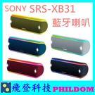 現貨免運 SONY SRS-XB31 SRSXB31藍牙喇叭 台灣公司貨 防水防塵 另有XB21 XB41可參考