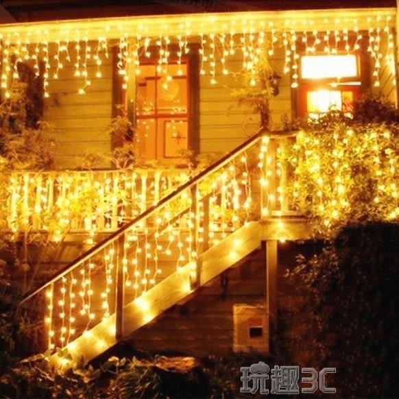 燈串 LED彩燈閃燈串燈冰條燈聖誕節日裝飾燈滿天星銅線防水燈串窗簾燈【美物居家館】