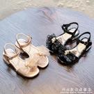 女童涼鞋2021夏季新款女孩水鉆蝴蝶結公主鞋兒童軟底防滑沙灘鞋子 科炫數位