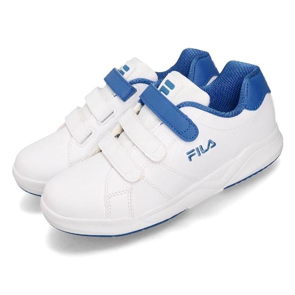 Fila 休閒鞋 C810T 白 藍 魔鬼氈 女鞋 大童鞋 小白鞋 基本款 【ACS】 3C810T133