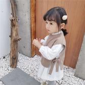 兒童針織背心 春裝女童針織馬甲正韓繫帶洋氣外穿兒童寶寶【免運直出】