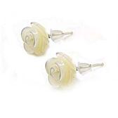 貝殼小玫瑰花白貝純銀耳環