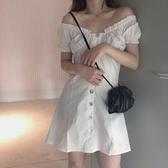 一字肩連身裙女夏季新款收腰裙子顯瘦泡泡袖法式性感短裙