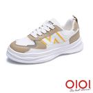 休閒鞋 新潮話題撞色綁帶休閒鞋(黃棕) *0101shoes【18-M37br】【現+預】