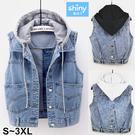 【V3092】shiny藍格子-簡搭風格.百搭連帽無袖馬甲牛仔背心外套