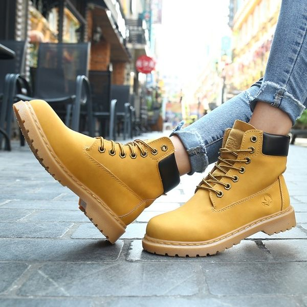 正韓ulzzang英倫學院風黃色高筒原宿復古馬丁靴短靴GD男女鞋情侶 【好康八九折】