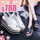 涼鞋LoVie韓版休閒風交叉帶顯高厚底皮面涼鞋【02S9114】