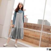 《DA7277-》輕奢光澤絲絨假兩件長洋裝 OB嚴選