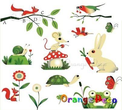 壁貼【橘果設計】動物們 DIY組合壁貼/牆貼/壁紙/客廳臥室浴室幼稚園室內設計裝潢