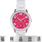 【台南 時代鐘錶 GOTO】GC9106L-82-F21 藍寶石三眼陶瓷時尚腕錶 桃紅/白 34mm