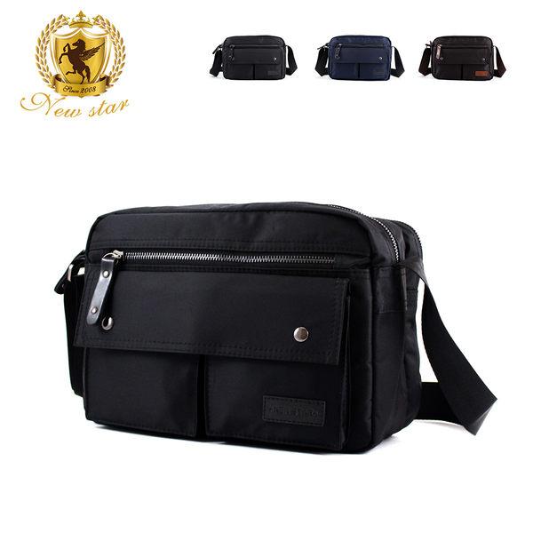 斜背包 日系防水尼龍雙口袋雙層男包女包側背包包 porter風 NEW STAR BL89