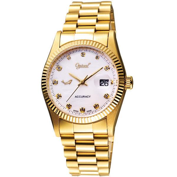 Ogival 經典晶鑽腕錶-珍珠貝x金/36mm 3932MSK金