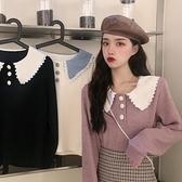 針織打底衫 娃娃領長袖針織衫女裝秋裝寬鬆打底上衣秋季外穿毛衣女-Milano米蘭