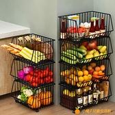 廚房蔬菜置物架菜架子多層落地蔬果收納筐水果收納架家用菜籃帶輪【小橘子】