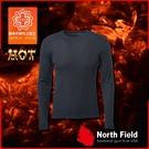 【North Field美國 男 圓領遠外線內衣《岩黑》】109B/保暖衣/發熱衣/膠原蛋白/吸濕排汗/親膚