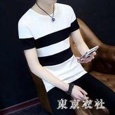 休閒短袖 新款潮流男士條紋休閒短袖圓領學生t恤 QQ7063『東京衣社』