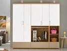 【森可家居】柯瑪6.9尺組合衣櫃(全組) 7ZX180-4 衣櫥 白色 木紋質感 北歐風 無印風
