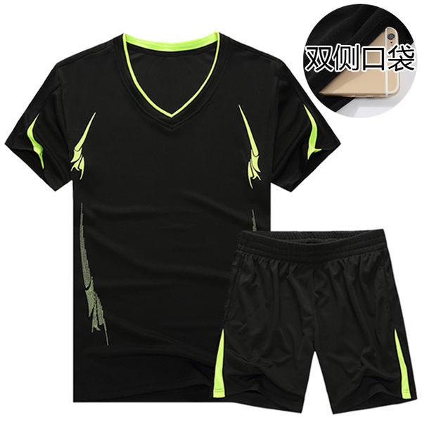 夏季運動套裝男士速幹健身短褲休閑兩件薄款運動衣服裝短袖跑步服