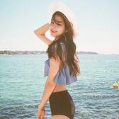 正韓分體泳裝女保守一字肩荷葉邊超顯瘦高腰遮肚溫泉比基尼游泳衣