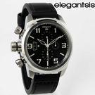 【萬年鐘錶】elegantsis  三眼  強悍 磨登 展現獨立個性風格女錶 銀x黑 43mm  ELJT48S-OB09LC