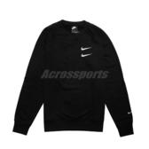Nike 長袖T恤 NSW Swoosh Crew 黑 白 男款 大學T 運動休閒 雙勾勾 【PUMP306】 CJ4872-010