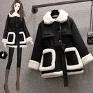 VK精品服飾 韓國風時尚大碼保暖顯瘦羊羔毛翻領單品外套