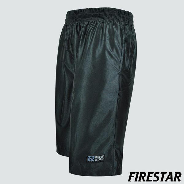 FIRESTAR-男性吸濕排汗腰帶撞色亮面籃球褲-黑/紅 B4901-10