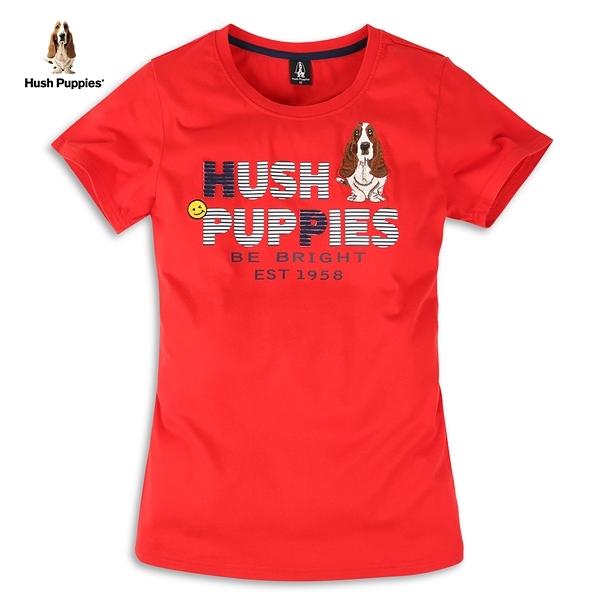 Hush Puppies T恤 女裝字母印花立體拼貼刺繡短袖T恤