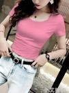 短款t恤女短袖夏季露臍網紅打底衫2021年新款緊身小個子圓領上衣 小艾新品