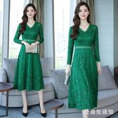 蕾絲長洋裝2018新款韓版時尚V領長袖氣質高腰顯瘦中長款 DN16840『愛尚生活館』