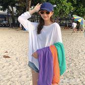 夏季新款女裝寬鬆顯瘦學生長袖套頭T恤純色百搭薄款防曬衫罩衫女  多莉絲旗艦店