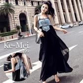 克妹Ke-Mei【ZT67213 】泰國潮牌 龐克水洗牛仔Y字美背併接膨紗吊帶洋裝