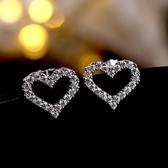 耳環 925純銀鑲鑽-鏤空愛心生日情人節禮物女飾品73gk49【時尚巴黎】