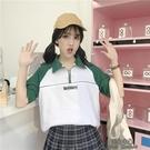 短袖T恤女韓版寬鬆翻領polo衫學生泫雅風可愛學院風上衣 淇朵市集