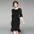 洋裝-中袖條紋拼接鏤空蕾絲女連身裙73of93【巴黎精品】