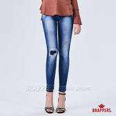 BRAPPERS 女款 新美腳ROYAL系列-低腰割破補丁彈性窄管褲-藍