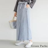 「Summer」腰際綁帶拼接牛仔裙 - Green Parks