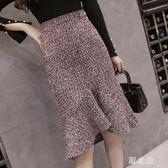 中大尺碼魚尾裙 秋裝韓版魚尾半身裙格子中長款包臀裙女裙子 nm10769【野之旅】