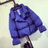 冬季新款女裝甜美喇叭袖立領減齡寬鬆顯瘦學生長袖棉衣短外套女