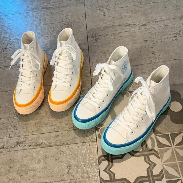 高幫帆布鞋女夏季2020年新款小白板鞋薄款平底網紅百搭學生女鞋子 【端午節特惠】