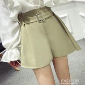 2018夏季新款韓版chic寬管褲a字高腰休閒褲女寬鬆純色西裝短褲子·Ifashion