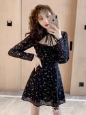 法式旗袍碎花裙秋裝2020年新款復古氣質年輕款少女小個子洋裝女