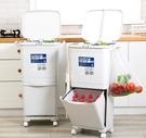 45公升 雙層設計/環保材質 3個桶身垃圾好分類  上蓋設計異味不易跑出來