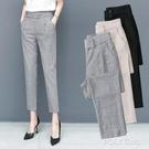 九分哈倫褲女2021春季新款寬鬆百搭鬆緊腰灰色褲子直筒顯瘦小西褲 夏季狂歡